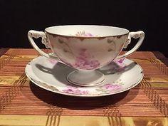 Rosenthal-Louis-Seize-Bavaria-Purple-Floral-Double-Handle-Porcelain-Cup-Saucer