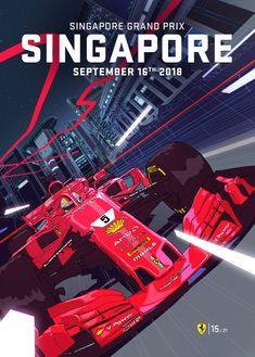 Scuderia Ferrari cover art by LRNZ for Singapore Grand Prix 2018 Belgium Grand Prix, Mercedes Lewis, Mercedes Amg, Nascar, Stock Car, Singapore Grand Prix, Austrian Grand Prix, Automobile, Ferrari F1