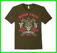 Mens Born Free Biker 1954 63rd Motorcycle Birthday Gift T Shirt 3XL Olive - Birthday shirts (*Amazon Partner-Link)