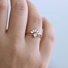 Pear Cut Diamonds Wedding Set Diamond Cluster Ring Pear by artemer