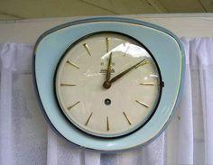 Porseleinen Keukenklok Pastel/Goud Fifties Jaren'50