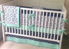 Navy, mint and gray ikat crib bedding.  www.butterbeansboutique.etsy.com