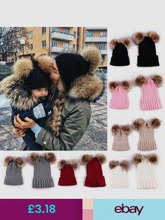7f2480c9f6c Mom+Child Kids Baby Warm Bobble Knit Hats Fur Pom Winter Crochet Ski Cap in  Clothing