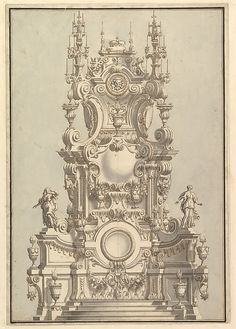 Elevation of a Catafalque, Surmounted by a Royal Crown, with Scull and Cross Bones in Wreath-Encircled Cartouche just below