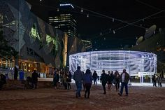 Pulsing rings of light traced the movement of visitors to this installation in Federation Square, Melbourne