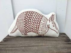 Armadillo Block Printed Plush Pillow