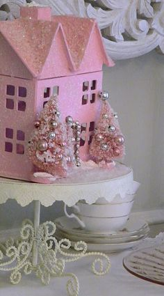 Pink Christmas house on cake plate - like that idea
