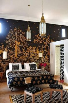 The Gazelle Room at Peacock Pavillions in Marrakech--look at that fantastic wall!