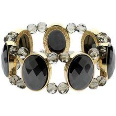 Monet Hematite Stretch Bracelet, Gold