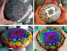 pretty doodle pattern and colors... This would be a great way to do mandalas & chakra stones