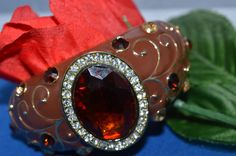 KENNETH JAY LANE Rare Enamel and Genuine Austrian Crystals  Bracelet, Signed, Show Stopper  Piece  ships in 24 Hrs