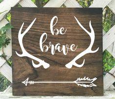 Be brave little one woodland nursery decor. Deer Antler Decor. Deer baby nursery decor. Arrow nursery decor by JillofAllTradesCo on Etsy