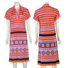 1970s   Vintage Jersey Midi Dress Mosaic Floral Print #VebExquisitVodenBerlin