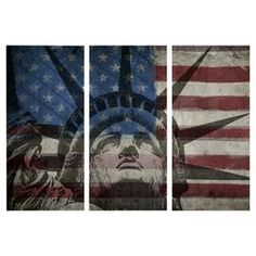 """Equally at home in an artful collage or on its own as an eye-catching focal point, this hand-stretched canvas triptych showcases the Statue of Liberty against an American Flag background. Made in the USA.  Product: TriptychConstruction Material: Fine art canvas and woodFeatures: Designed by Oliver Gal & Co. Limited open edition with certificate of authenticity by the artistMade in the USAArrives ready to hang with all hardware included Dimensions: 36"""" H x 17"""" W x 1.5"""" D eachCleaning and ..."""