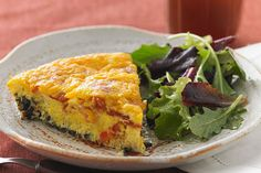 Wild Rice, Bacon & Cheddar Frittata – This quick and yummy frittata is layered with wild rice on the bottom, a creamy bacon and egg mixture in the middle and a topping of melted cheddar cheese! Kraft Recipes, Rice Recipes, Brunch Recipes, Breakfast Recipes, Cooking Recipes, Healthy Recipes, Cooking Stuff, Breakfast Dishes, Breakfast Ideas