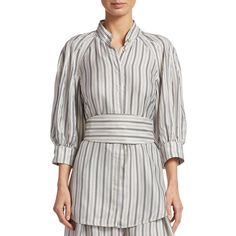 Zimmermann Striped Silk Blouse ($530) ❤ liked on Polyvore featuring tops, blouses, silk blouse, white tie waist blouse, stripe top, three quarter sleeve blouse and 3/4 sleeve tops
