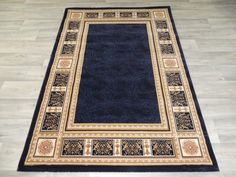 Navy Border Design Turkish Rug Size: 120 x 170cm