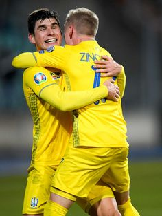 Ruslan Malinovskyi of Ukraine, Oleksandr Zinchenko of Ukraine celebrate during the EURO Qualifier match between Luxembourg v Ukraine at the Stade Josy Barthel on March 2019 in Luxembourg. Get premium, high resolution news photos at Getty Images Ukraine Football, Football Wallpaper, Luxembourg, Euro, Dj, March, Kpop, Celebrities, Sports