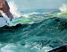 Wave by George Wesley Bellows. I just love wave/ocean art! Seascape Paintings, Landscape Paintings, Imagen Natural, Ashcan School, Art Textile, Pierre Auguste Renoir, Wow Art, All Nature, Ocean Art