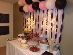 Black white and pink sweet sixteen birthday party