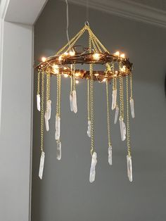 Crystal Mobile Crystal Point Bohemian Mobile Quartz Point Crystal Chandelier Rustic Lighted Chandelier Bohemian Home Decor Wedding - Rustic chandelier, Bohemian home, Ho -