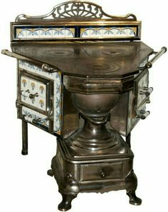 Art Nouveau Cast Nickel and Porcelain Stove