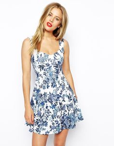 ASOS Skater Dress with Sweetheart Neck and Floral Texture Print $53.35