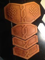 Celtic Leather Pauldron WIP by darkwolfarmory