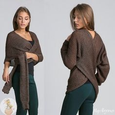 Shrug Knitting Pattern, Cardigan Pattern, Hand Knitting, Handgestrickte Pullover, Scarf Tutorial, Corset Pattern, Crochet Coat, Crochet Flower Patterns, Hand Knitted Sweaters