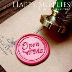 1pcs Open Me Gold Plated Wax Seal Stamp by HappyJewelrySupplies, $9.80