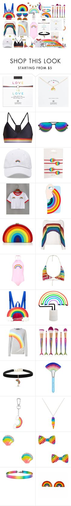 """""""we live in a rainbow of chaos"""" by goddess-of-magic ❤ liked on Polyvore featuring Dogeared, The Upside, Forever 21, Topshop, Miss Selfridge, Milly, Marc Jacobs, Boohoo, Jaded and Sunnylife"""