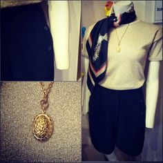 #vintage #gold #shimmer #knit #top $30,   #vintage #gold #chain and #locket #pendant #necklace $35, and #vintage #black #relaxed #shorts $49 Louis Vuitton Speedy Bag, Vintage Black, Paintings, Pendant Necklace, Chain, Shorts, Knitting, Gold, Art