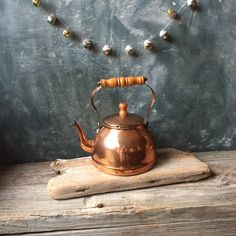 Vintage Copper Tea Kettle Rustic Copper Tea Pot with Wooden Handle,... ($29) ❤ liked on Polyvore featuring home and kitchen & dining