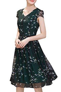 105784d0cfc Olrain Womens Vintage Floral Printed Cap Sleeve Tea Dress with Belt 4 Dark  Green · Formal Dresses ...