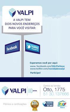 E-mail marketing, divulgando as Redes Sociais da VALPI Produtos Imobiliários.
