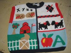 TEACHERS VEST SWEATER W/ SCHOOL DOG AND APPLE GREAT CHRISTMAS PRESENT W/ BELLS | eBay