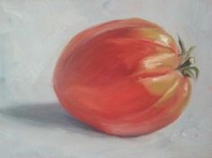 """Coeur de bouef, or heart of beef, tomato from the farmers market in Salies du Salat in France. This one not so much, but the others are really heart shaped! 5x7"""" oil on gessoboard (c) Rebecca Stebbins 2014"""