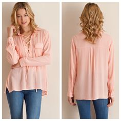 Peach Lace Up Peasant Top Peach Lace Up Peasant Top  Solid lace up collared top featuring two front pockets. 100% Rayon. Also available in ivory. 2/2/2 TE1401CP-591  No trades! Other