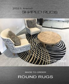 Round rugs in any size and colour Contemporary Rugs, Modern Rugs, Round Rugs, Rug Making, Ottoman, Carpet, Colour, Chair, Furniture