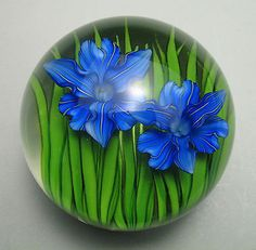 Superb Signed Steven Lundberg Art Glass Pair of Iris Flowers Paperweight c. 1993