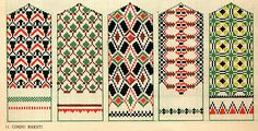 Latvian designs for mittens Knitting patterns like these can easily be used for needlepoint.