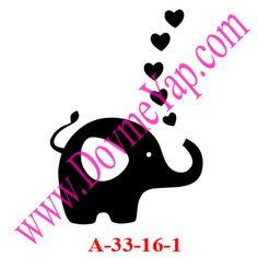 Kalpli Fil Simgesi Geçici Dövme Şablon Örneği Model No:A-33-16-1