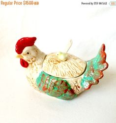 On Sale Ceramic Rooster Jam Pot with spoon / by EllasAtticVintage
