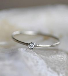 Diamond & White Gold Ring by Porter Gulch on Scoutmob Shoppe Sapphire Wedding Rings, Blue Sapphire Rings, Blue Rings, White Gold Rings, Wedding Ring Bands, Silver Ring, Diamond Promise Rings, Halo Diamond, Clean Gold Jewelry