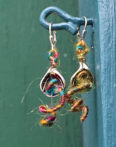 Fiber Tendrils Lily Earrings (Customer Design) - Lima Beads - Wooly Wire - interesting product.