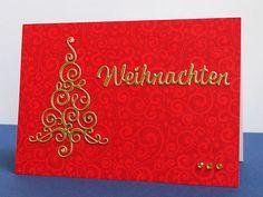 blog.karten-kunst.de - Rot-Goldene Weihnacht. Karten-Kunst Stanzschablone Große Texte Weihnachten, Poppy Stamps Stanzschablone Small Flourish Tree