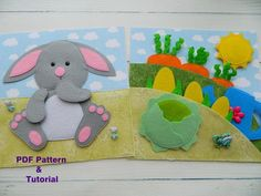 Quiet book PDF pattern Bunny and garden, Quiet book PDF templates made of felt, Quiet book page ideas Pattern PDF Farm Animals For Toddler, Toddler Books, Quiet Book Templates, Quiet Book Patterns, Baby Quiet Book, Felt Quiet Books, Felt Doll Patterns, Pdf Sewing Patterns, Needle Felted Animals