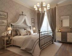 schlafzimmer design betthimmel lange gardinen leuchter stilvolle tapeten