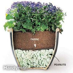 Tips for Moving Heavy Potted Plants | The Family Handyman ... Solution: Buy a bag of foam packing peanuts instead. Fill the pot one-third to one-half full of peanuts, cover with landscape fabric and then add soil. This cuts the weight and saves money. However, a smaller amount of soil means more frequent watering. To slow evaporation, cover the soil with wood mulch.