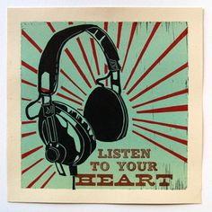 Listen To Your Heart Print 14x14, $17, now featured on Fab.